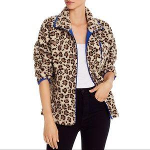Aqua Sherpa Fleece Leopard Print Jacket
